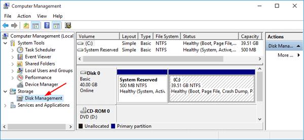 آموزش Disk management در ویندوز سرور
